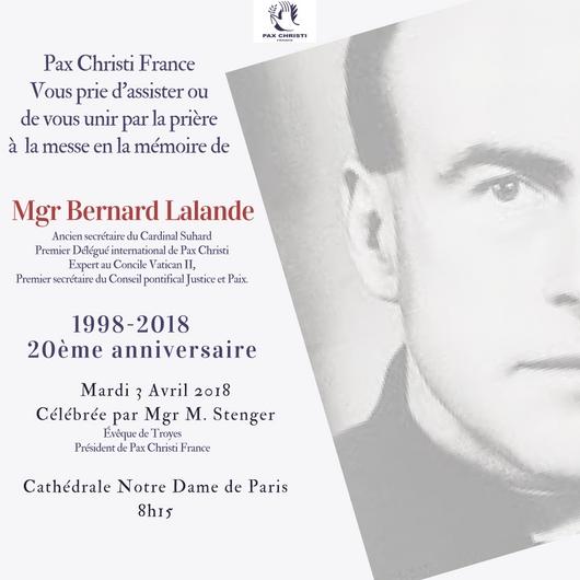 20ème anniversaire de la mort de Mgr Lalande 3 avril 2018