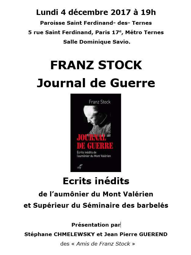 Conférence Franz Stock 4 décembre